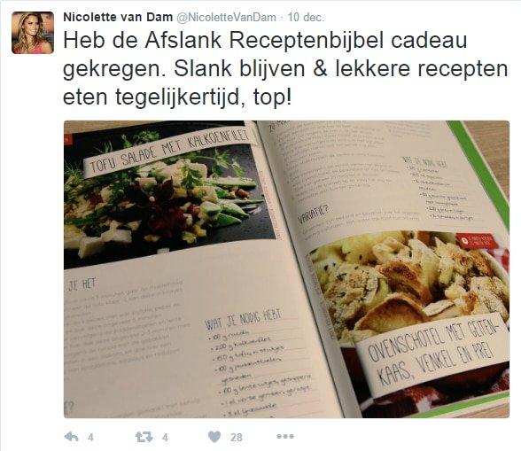 Tweet Nicolette van Dam over de Afslank Receptenbijbel